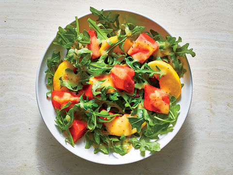 Salad with watermelon, peach and fig vinaigrette
