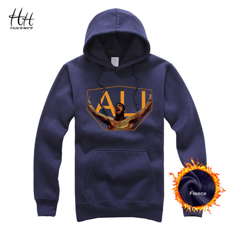 HanHent Thicken Hooded Muhammad Ali Printing Brand Clothing Star Fleece Hoodies Casual Jacket Sweatshirt Men AG5245 - My Home Shopping Network