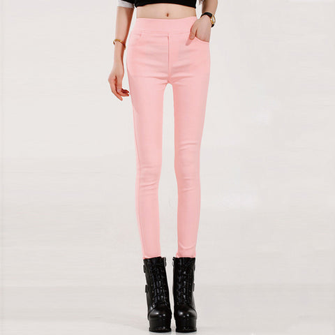 Female Candy Colored Stretch Pencil Women's Pants