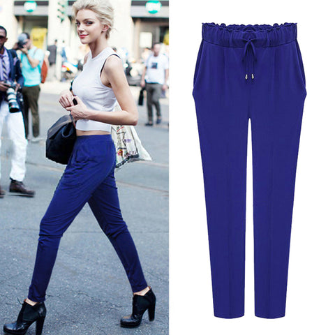 Full size Women Pants Loose Elastic pants Solid Color Female Trousers - My Home Shopping Network