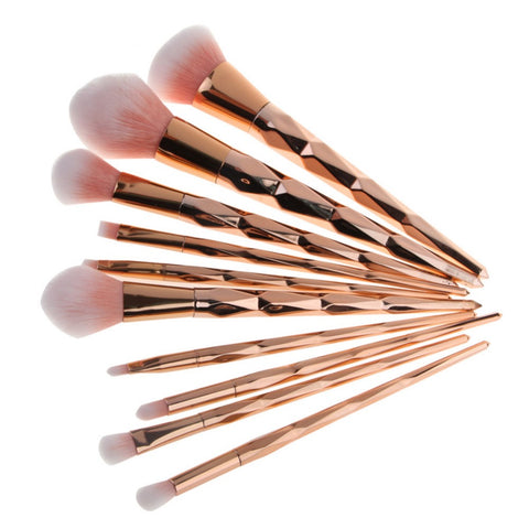 10PCS Rose Gold Make Up Brush Set High Quality Foundation - My Home Shopping Network