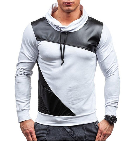 Men Stitching Fashion Mens Hoodies Slim Cotton Men Sweatshirts