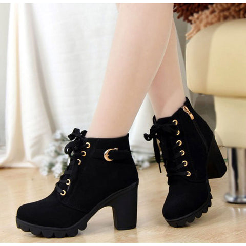 Autumn Winter Women Boots with High Quality Solid Lace-up - My Home Shopping Network