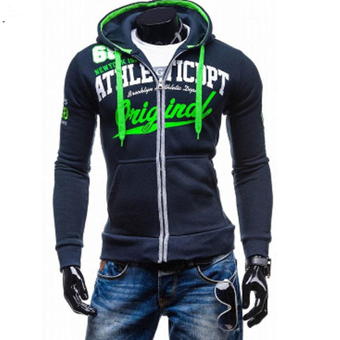 Men Hip Hop Hooded Zipper Hoodie Sweatshirt Slim Fit Men