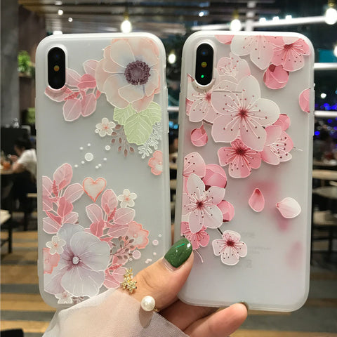 3D Relief Flowers Cases For iPhone X
