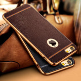 Luxury Ultra Thin 3D Litchi Leather Grain Phone Case For iPhone