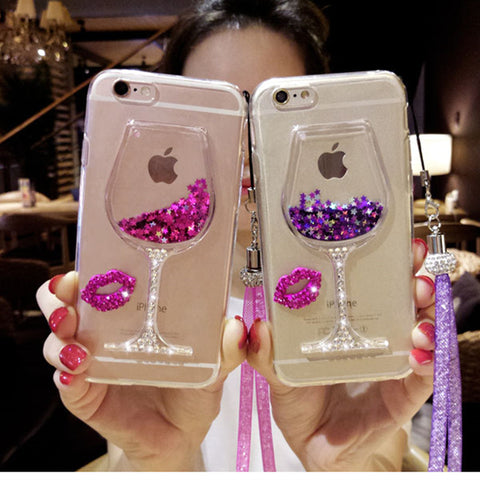 3D Liquid Quicksand Bling Phone Case For iPhone