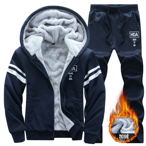 Winter Tracksuits Men Set Thicken Fleece Hoodies Pants Suit Spring Set