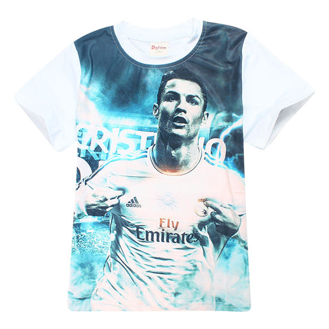 Children Boy t Shirts Summer Cristiano Ronaldo cr7 T-Shirts for Kids Clothes Short Sleeve Tops Tees Messi  jersey print T-shirt - My Home Shopping Network