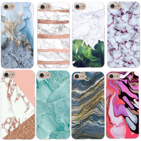 Cases Blue Pink gold Marble Hard For Apple iphone - My Home Shopping Network