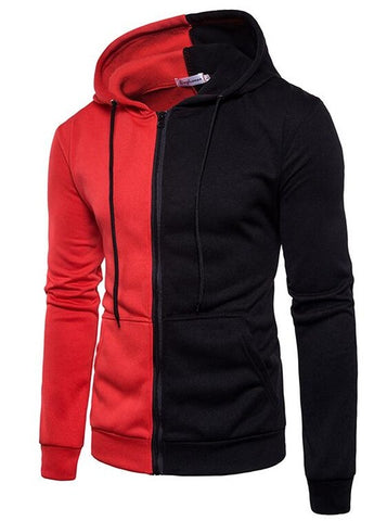 Male Long Sleeve Hoodie Stitching Sweatshirt Mens Hoodies