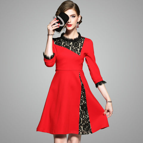 Autumn Womens Fashion Slim Lace Christmas Dresses - My Home Shopping Network