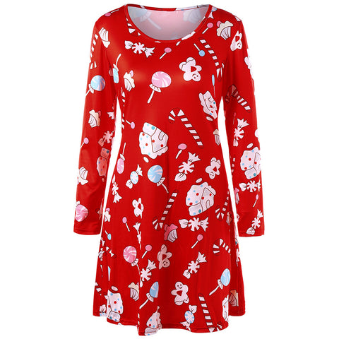 Baked Doll Christmas Candy Print Women Party Dress - My Home Shopping Network