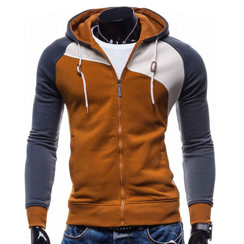 Men Hombre Zipper Hoodie Sweatshirt Slim Fit Men
