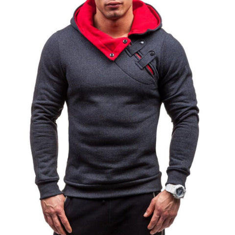 Men Fashion Soild Warmth Stitching Hoodies Tracksuit Male Sweatshirt