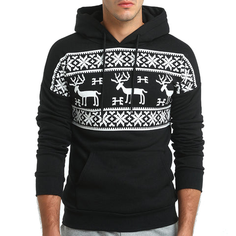 Men Deer Printing Hoodies Male Sweatshirt  Hoody Mens