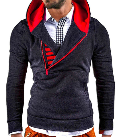 Men Diagonal Zipper Hoodies Men Fashion Male Sweatshirt