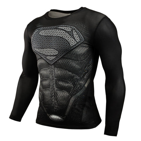 Fitness Compression Superman Bodybuilding Long Sleeves Men Shirt - My Home Shopping Network