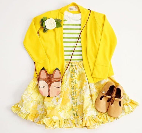 Harvest Yellow Organic Cotton Solid Cardigan