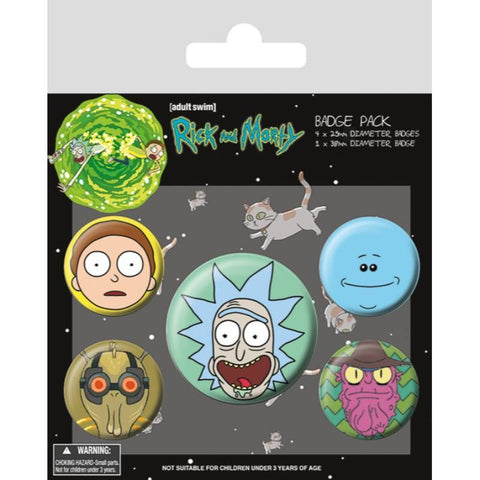 Rick & Morty Heads Badge Pack - Badges - Rick and Morty - GalaxT