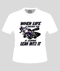 Bike India T-Shirts S / White Bike India T-Shirt : When Life Throws You, A Curve Lean Into It