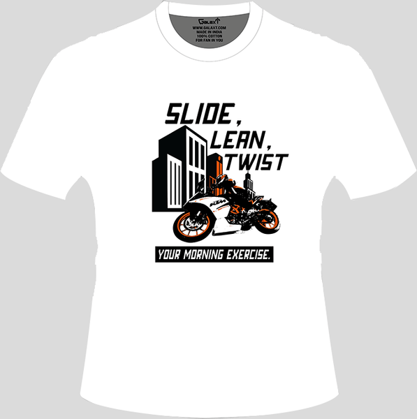 Bike India T-Shirts S / White Bike India T-Shirt : Slide, Lean, Twist, Your Morning Exercise!