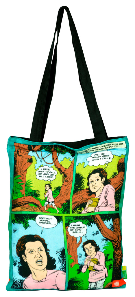 Krishna With Cowherd Tote Bag - Amar Chitra Katha - GalaxT