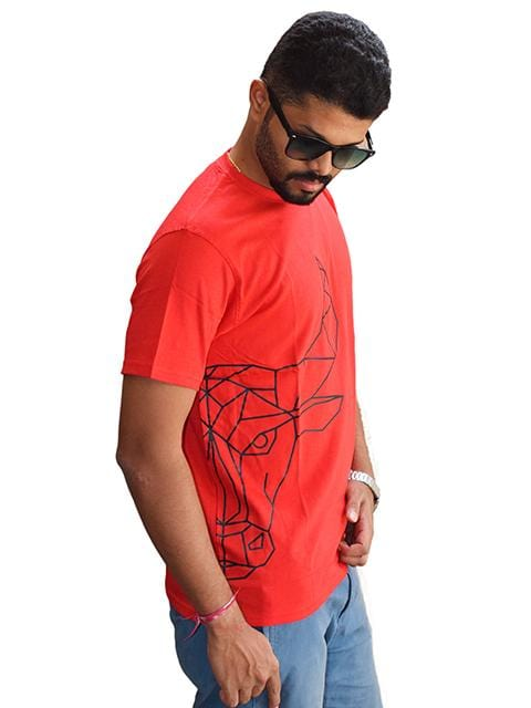 Bengaluru Bulls T-Shirts XL / Red Bengaluru Bulls T-Shirt : Half Faced Bull