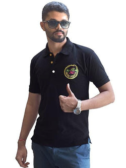 Polo T-Shirt Patna Pirates Clothing GalaxT Embroidered Logo Tee Tshirt Black Cotton Men