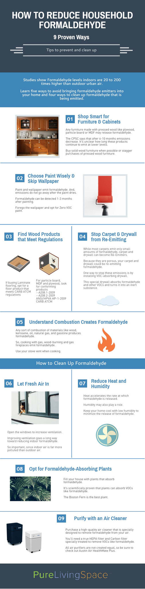 Killer infographic on ways to reduce household formaldehyde. Please pin.