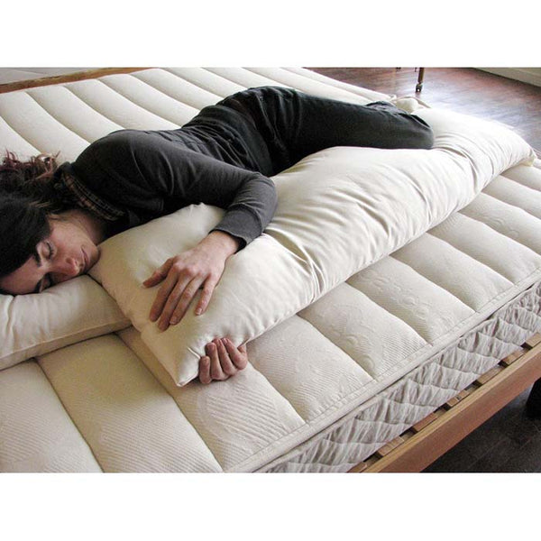 Organic Cotton and 100% Eco-Wool Body Pillow (Full Size) - PureLivingSpace.com