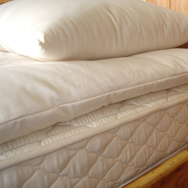 Deep Sleep Quilted Mattress Topper 100% Eco-Wool covered in Organic Cotton - PureLivingSpace.com