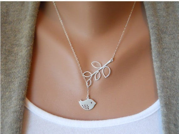 Silver Bird Necklace With Branch Tree Leaves