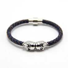 Genuine Skull Leather man Bracelet for Man Women in colors with twin skull design Men Bangles