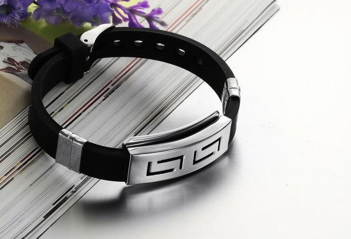 Wristband black Punk Rubber Silicone Stainless Steel Men Bracelets Bangles pulseras hombre caucho