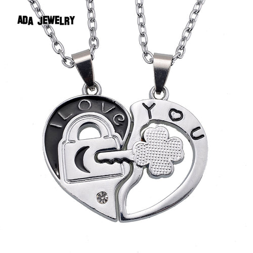 Couple Lovers' Pendant Necklaces For Women's and Men's Fashion Metal Key Heart Necklace Jewelry
