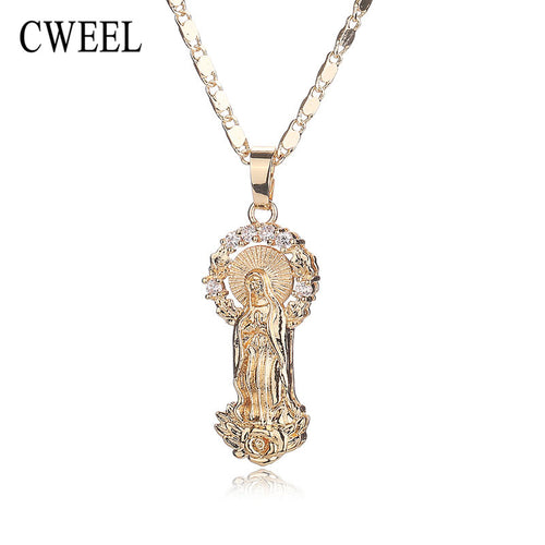 Women Men Jesus Necklace Pendant For Wedding Trendy New Gold Plated Jewelry Party Cross Long Beads Statement Accessories