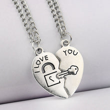 2PCS Vintage Silver Broken Heart Key Lock I Love You Pendant Necklace Family Friend Lover Couple Statement Jewelry Gifts Choker