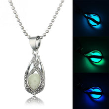 Hot Couple The Little Mermaid\'s Teardrop Glow in Dark Pendant Necklace Glowing Jewelry Best Gift for Lovers