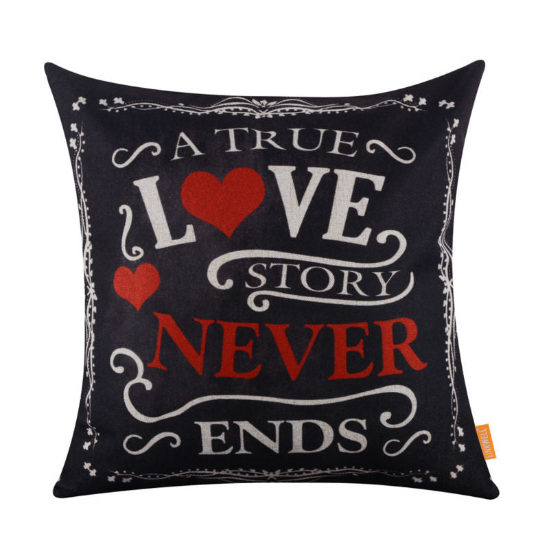 Blackboard Art Chalk Words Linen Cushion Covers Pillowcase For Valentines Day A Love Story Never Ends