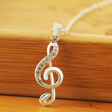Girl Christmas gifts creative lovely inlaid stone music notation pendant necklace LN011