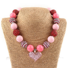 Valentines Day Pink Heart Chunky Necklace,