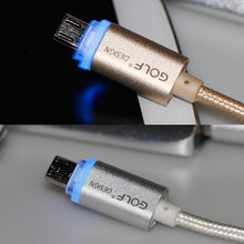 New Golf Crystal V8 LED Micro USB Data Cable Metal Nylon 2.1A Charger Magnetic Cable for Android Meizu Samsung HTC Galaxy Sony