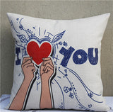 Romantic Valentine Day Cotton Linen Cushion Cover Simple Style I Love You Waist Throw Pillow Cover