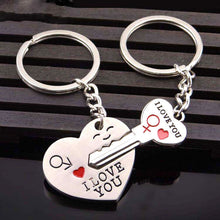 Heart Key I LOVE YOU Keyring Set Couple Keychain Ring 1 Pair