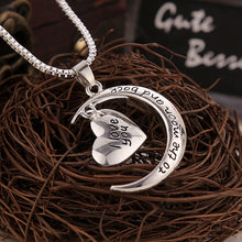 Silver Plated Moon & Heart Pendant Necklace I Love You to The Moon and Back