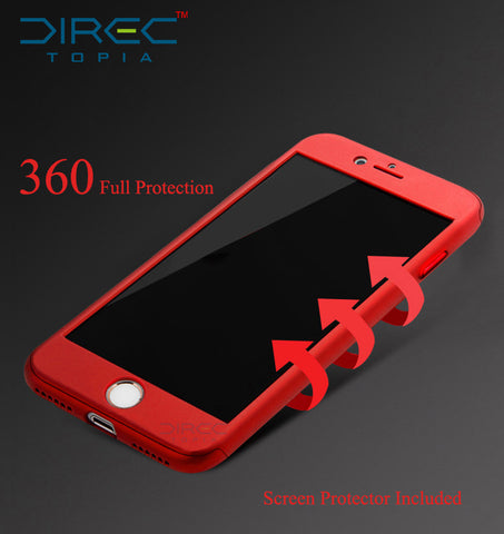 Ultra Thin iPhone 7 plus case with 360 full Tempered Glass Screen Protector
