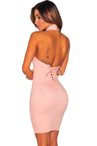 Lace Up Halter Party dress