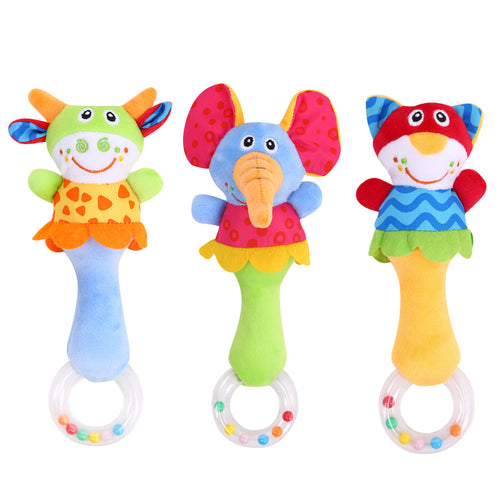 Beautiful Bed and Stroller Animal Hand Bells Plush Baby Music Toys