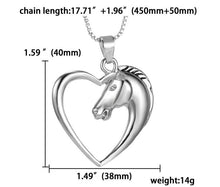 Horse in Heart Necklace Pendant Necklace for Women Girls Christmas Birthday Gift